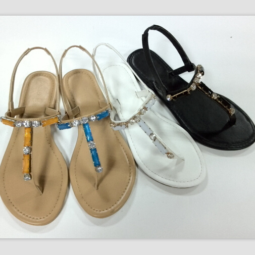 1a71f6eda6fe9b Flat fashion Ladies sandals with TPR Outsole and PU Upper with Metal  Ornamental. Get Latest Price