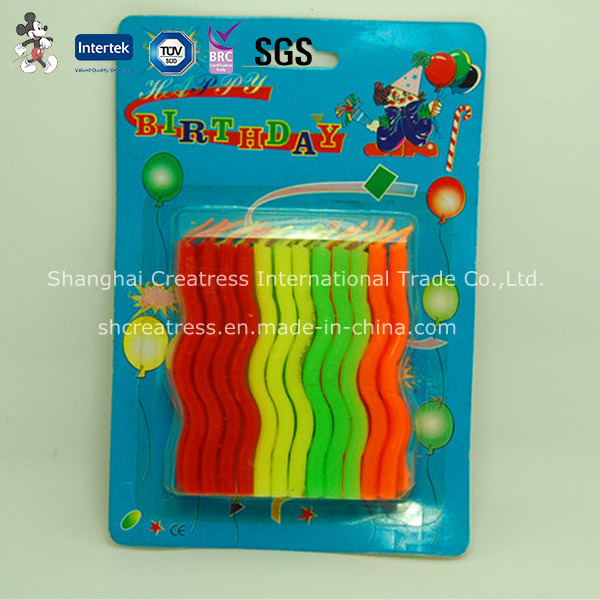 China Colorful Wave Shaped Birthday Candles For Sale