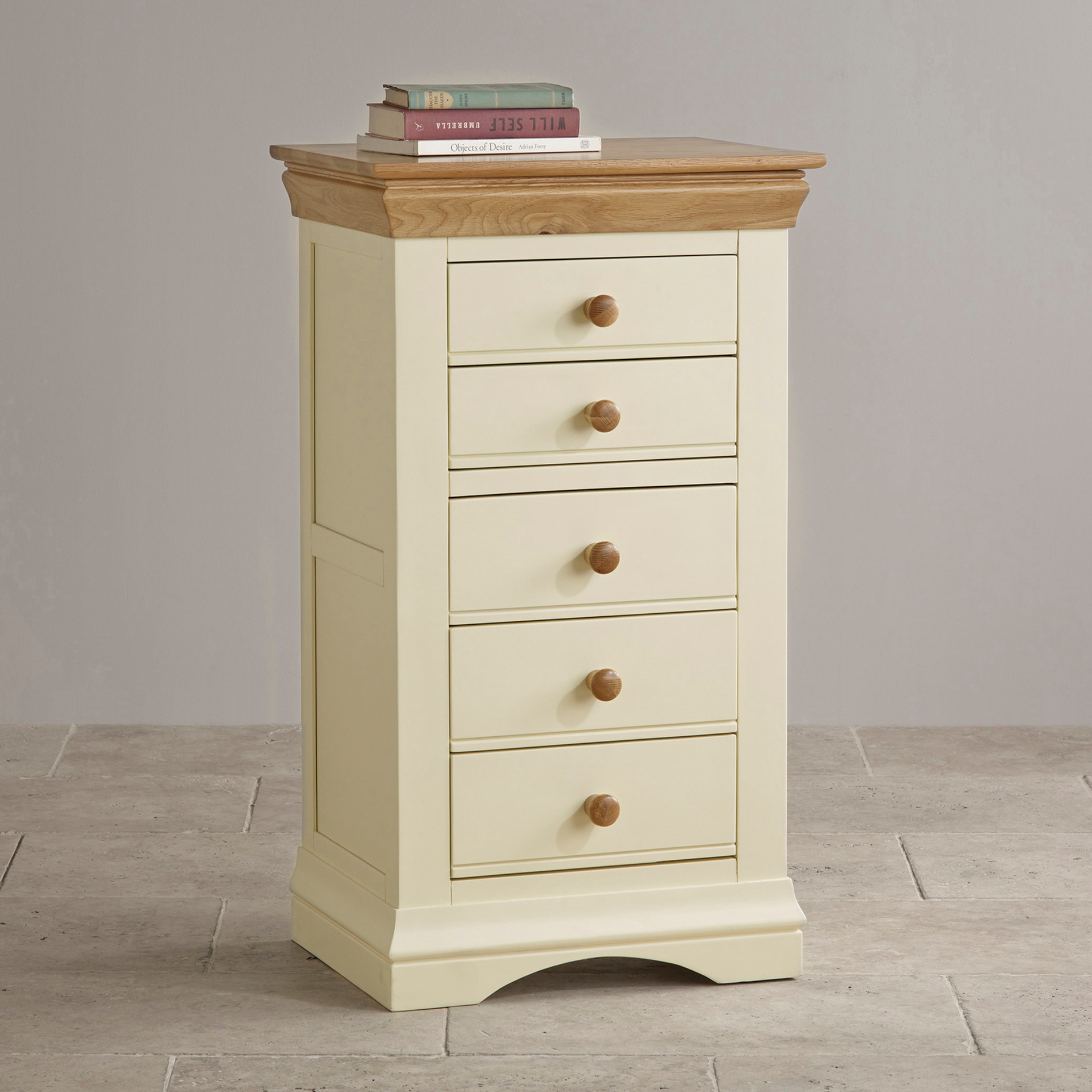 Painted White Oak Solid Wood 5 Drawer