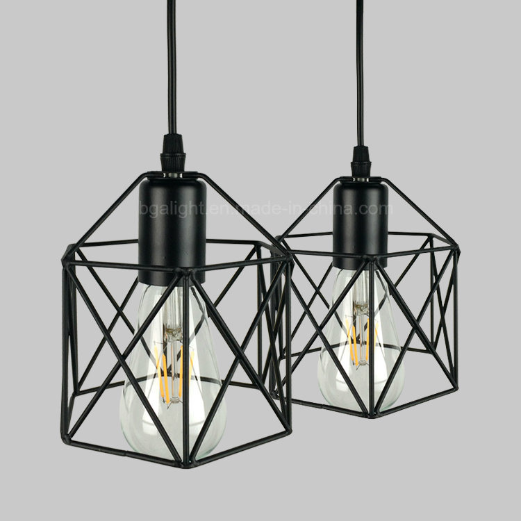 China E27 Black Iron Cage Modern Hanging Lights For Indoor Living