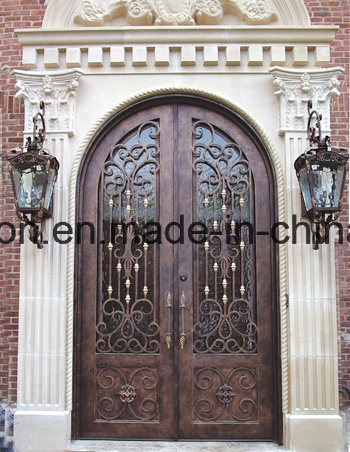 Top Quality Antique Bronze Finish Wrought Iron Entry Door with Kickplate & China Top Quality Antique Bronze Finish Wrought Iron Entry Door with ...