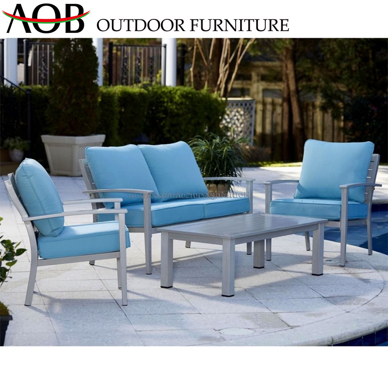 Sofa Back Wall Design, China Contemporary Outdoor Garden Home Resort Hotel Furniture Aluminium Outdoor Sofa Set With Blue Seat Plate China Home Furniture Chinese Furniture