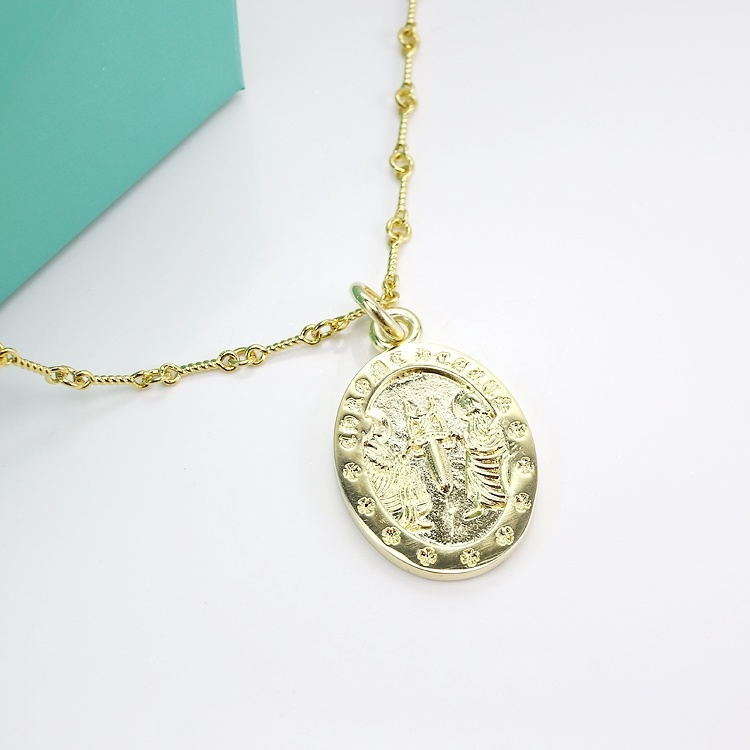 China Vintage Jewellery Handmade Engraved 925 Sterling Silver Round Pendant 14k 18k Yellow Gold Coin Pendant Necklace China Fashion Jewelry And Fashion Jewellery Price