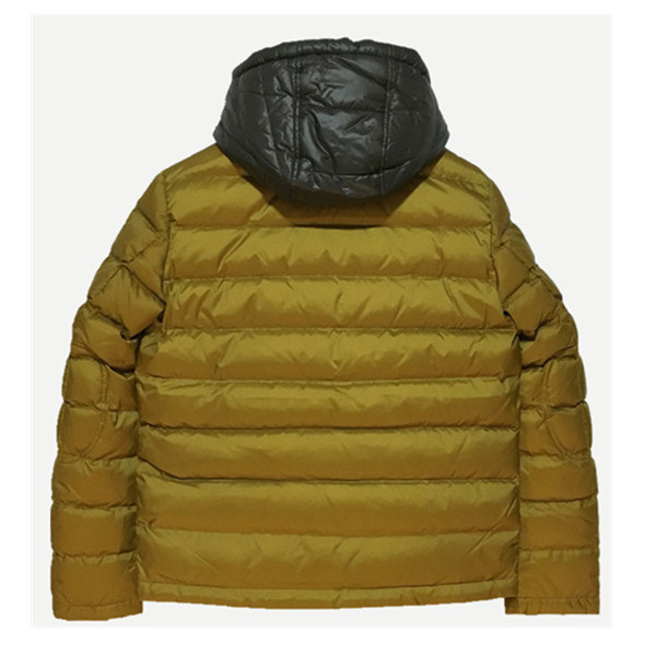 Unisex Men Winter Faked Down Jacket with Contrast Hood