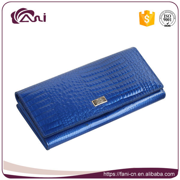 2017 Elegant Design Crocodile Leather Wallet, Fani Brand Wallet Jewelry Blue