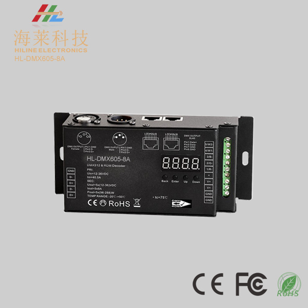 Industrial Level 8A in 5 Channels DMX512 & Rdm Decoder DC12-24V 30kHz