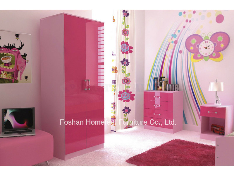 China Ottawa Pink High Gloss 3 Piece Kids Bedroom Furniture ...