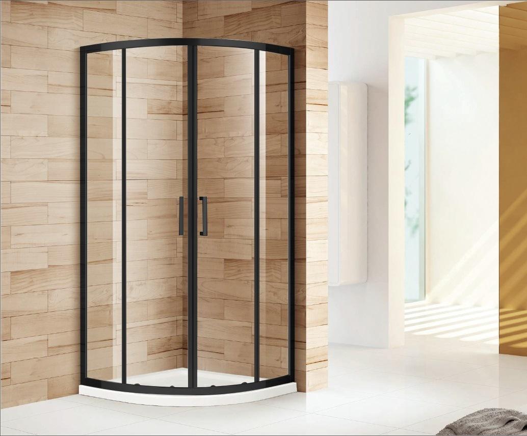 Hot Item Sally Matt Black Industrial Style Corner Entry Quadrant Shower Enclosure With Sliding Door