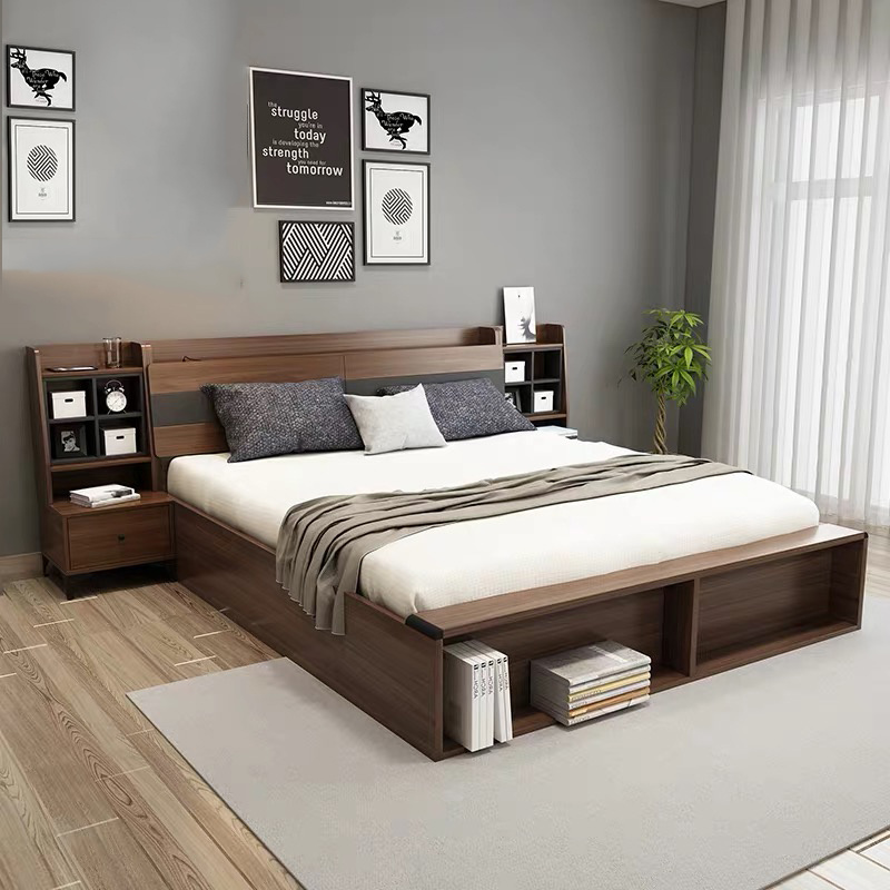 [Hot Item] Cheap Price Fashion Design Asian Home Bedroom Furniture Set  Wooden Double King Beds