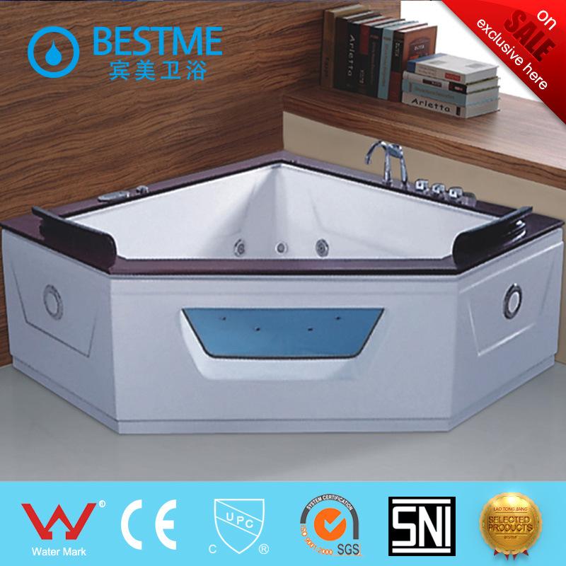 China Triangle Shape Woodframe Massage Bathtub with Control Panel ...