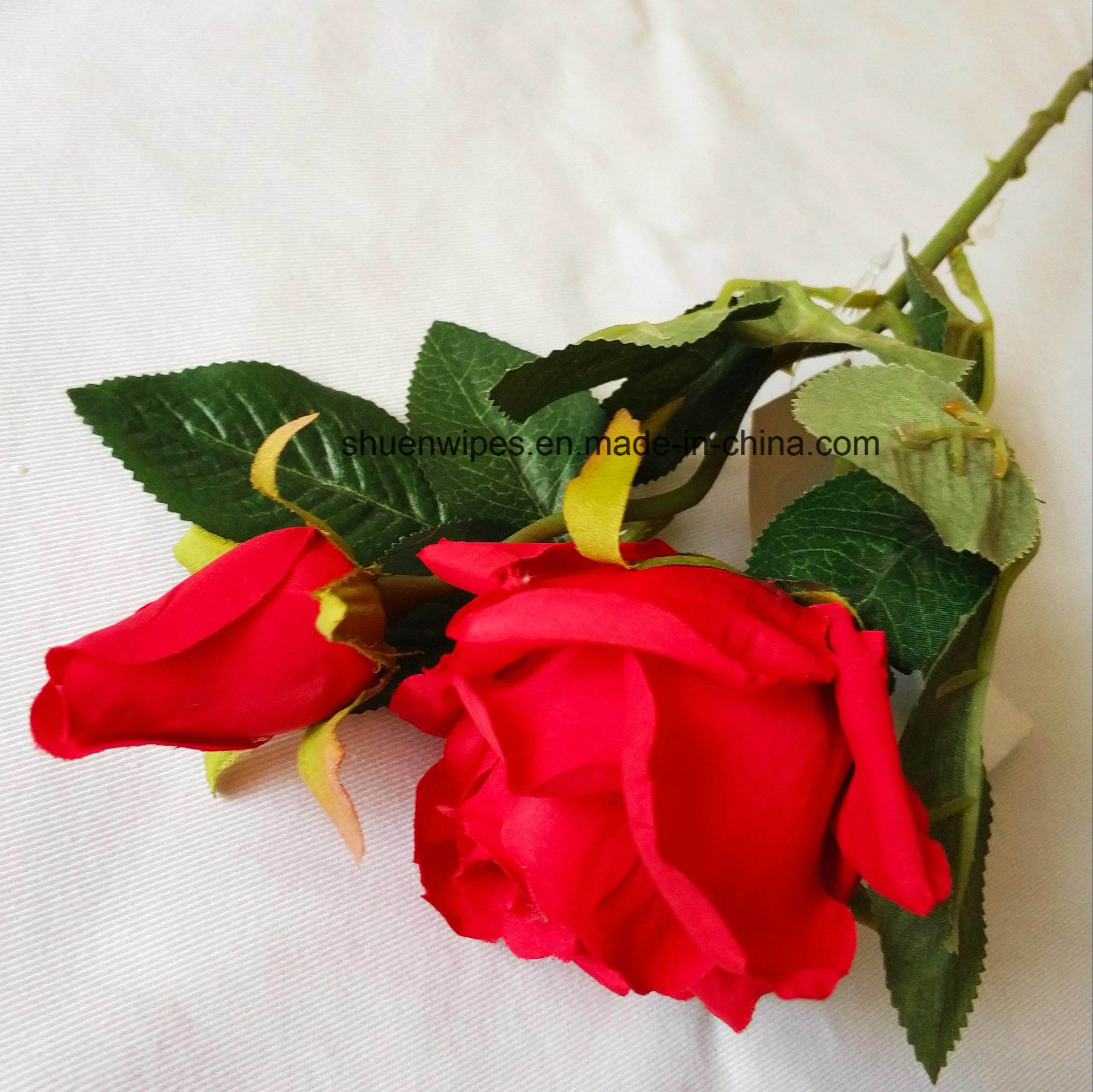 China Artifical Silk Flower Single Rose Real Touch For Valentines