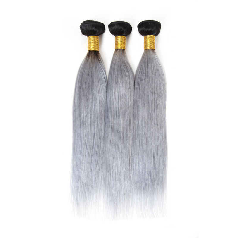China 8a Grade Brazilian Virgin Hair Straight Grey Hair Weave Silver