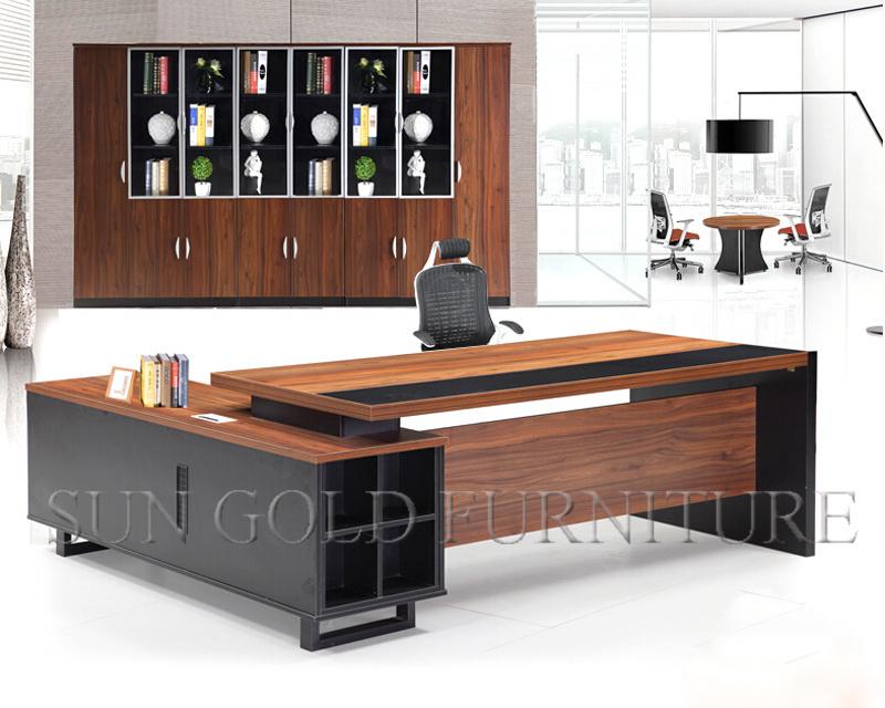 Hot Malaysia Office Table Design Black Modern Ceo Desk Sz Od356