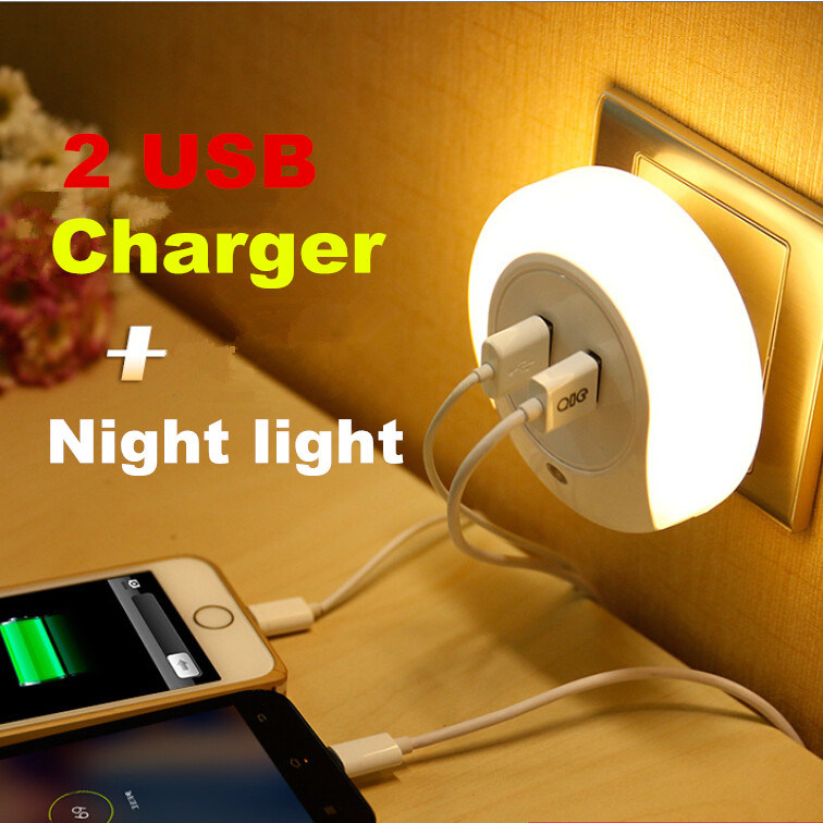 Mini Creative Motion Sensor Dual USB Charger LED Night Light