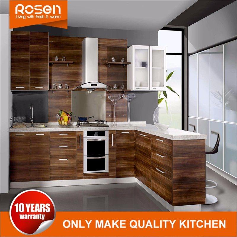 [Hot Item] Design New Brown Cherry Wood Veneer Modern Kitchen Cabinets