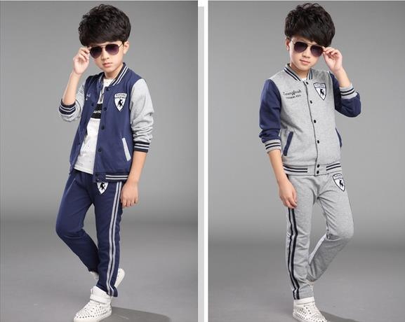 2015 New Arrival Two-Piece Autumn Winter Fashion Cotton Cool Baseball Uniform Kids Suit Children Apparel