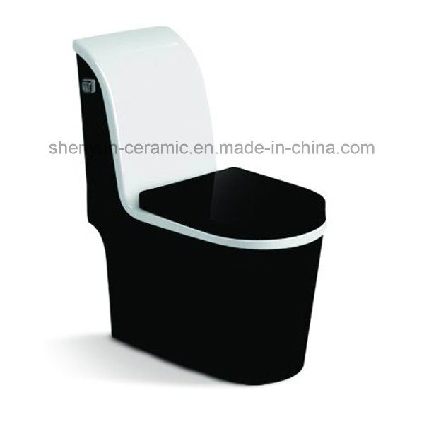 One-Piece Ceramic Color Toilet Siphonic Flushing S-Trap (A-012)