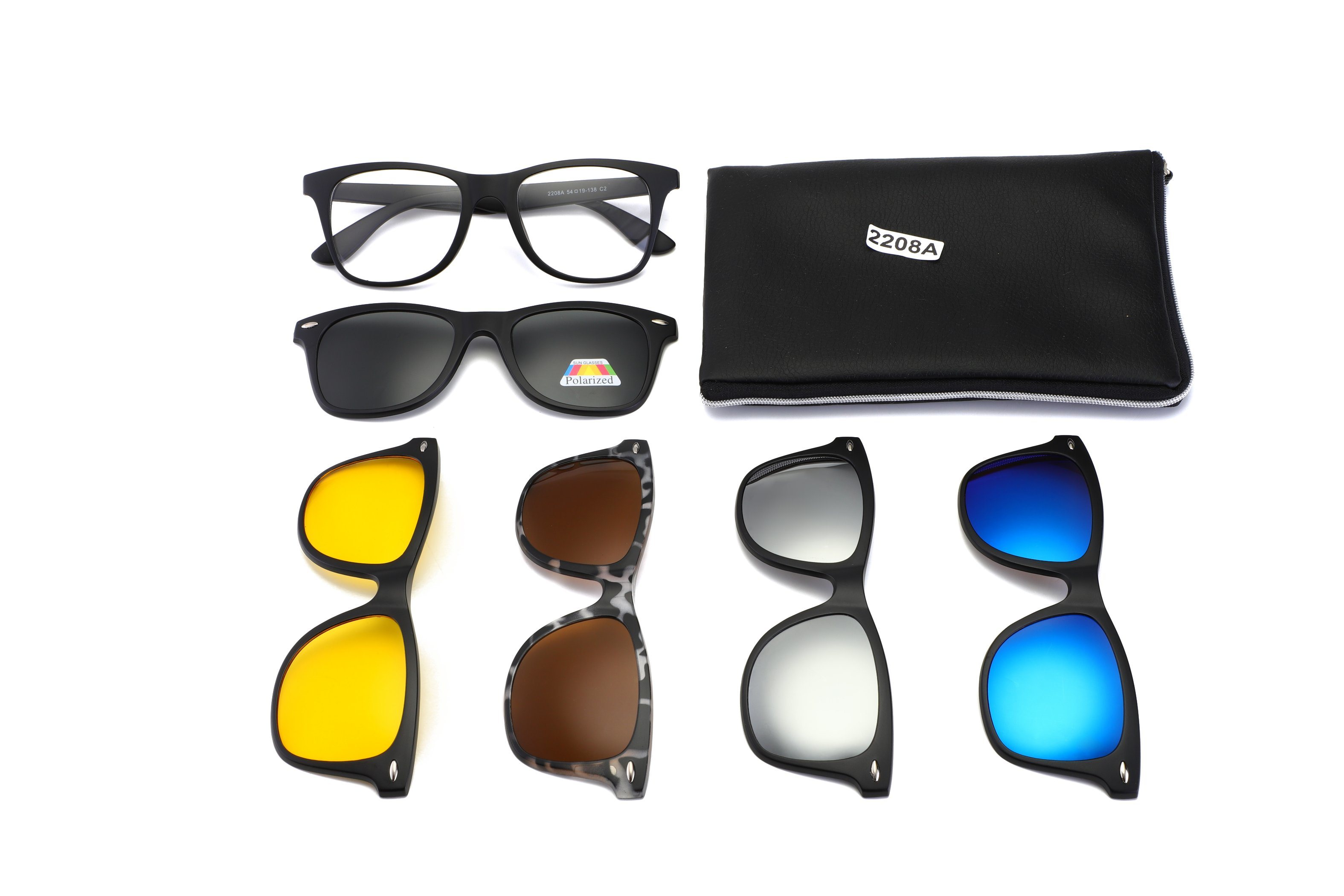 bdc19283edff5 Polarized Night Vision Magnetic 5 in 1 Clip on Sunglasses Set with Metal  Frame