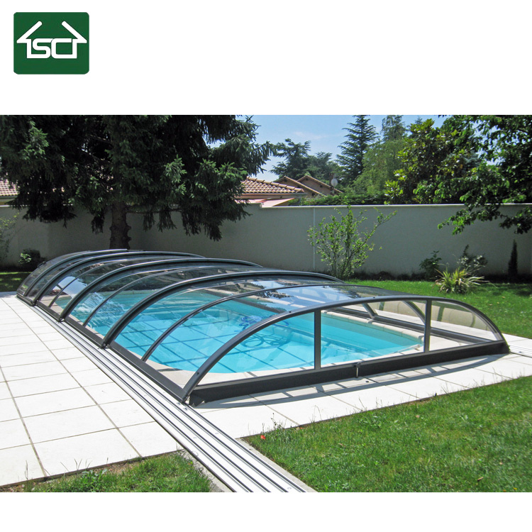 China Polycarbonate Retractable Pool Cover Large Swimming Pool Enclosure China Swimming Pool Cover And Polycarbonate Pool Cover Price