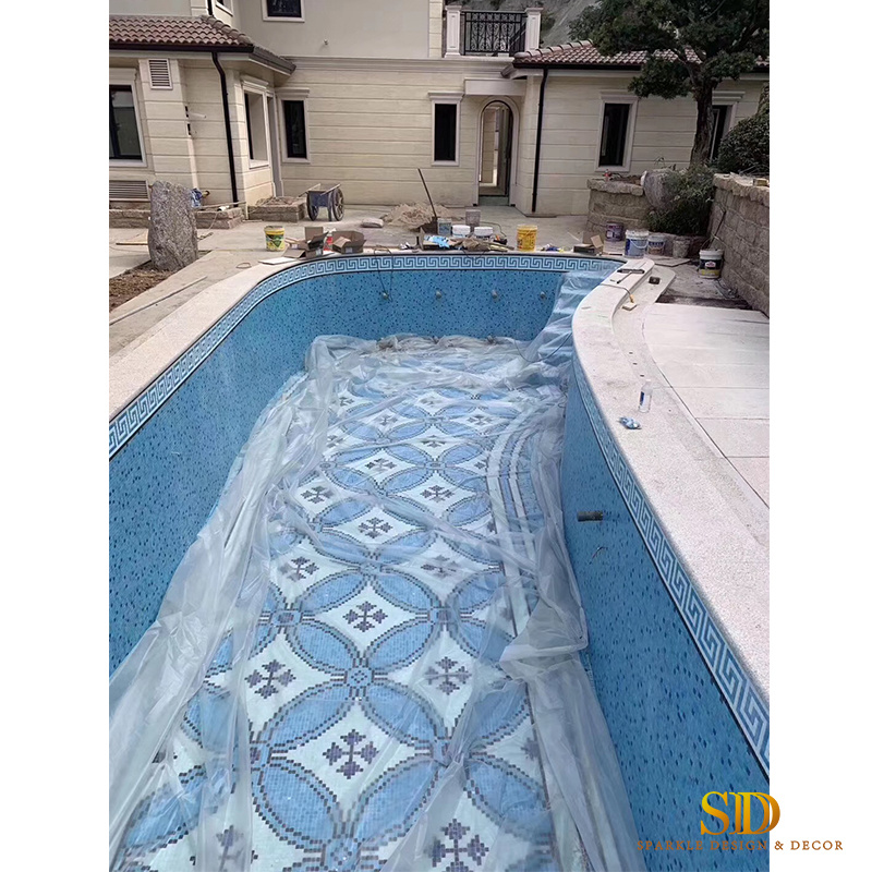 [Hot Item] New Home/Villa/Palace Pool Design Geometric Style Glass Mosaic  Patterns Swimming Pool Mosaic Tile Designs