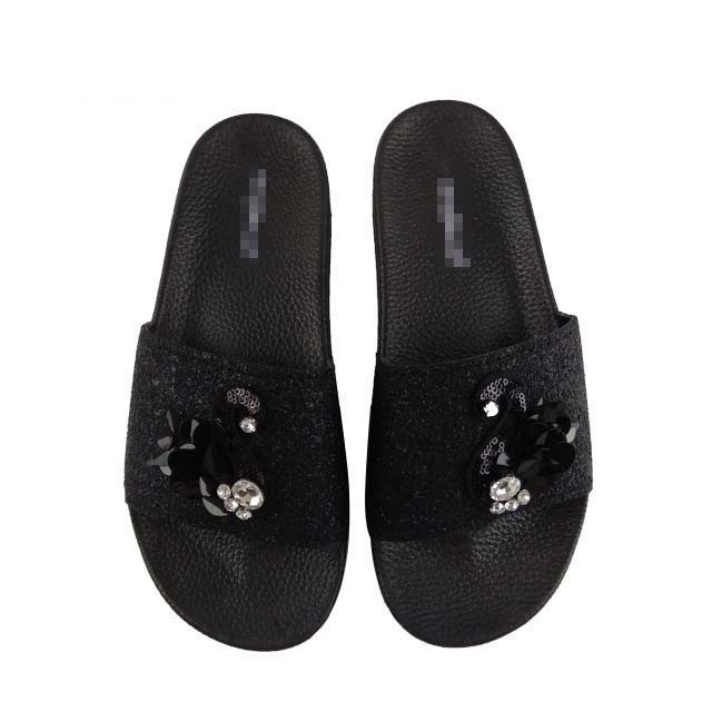 plain black flip flops womens