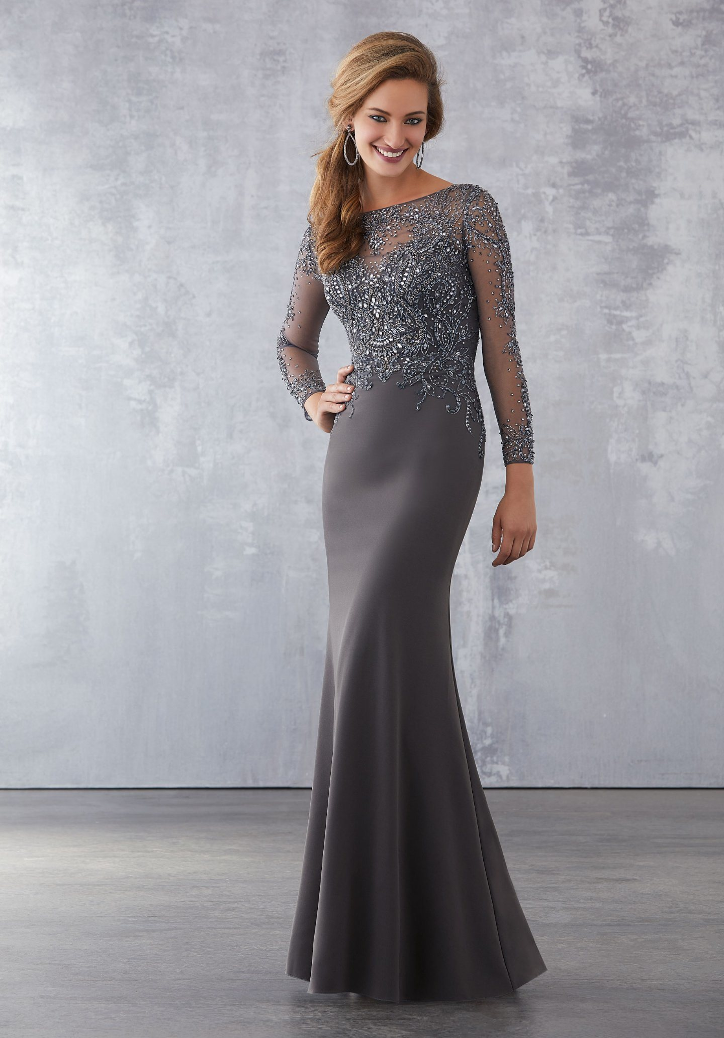 Hot Item Amelie Rocky 2018 Grey Mermaid Long Sleeve Evening Gown