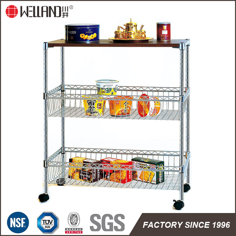 China Mobile Home Diy Chrome Metal Wire Basket Food Storage Cart With Mdf Board