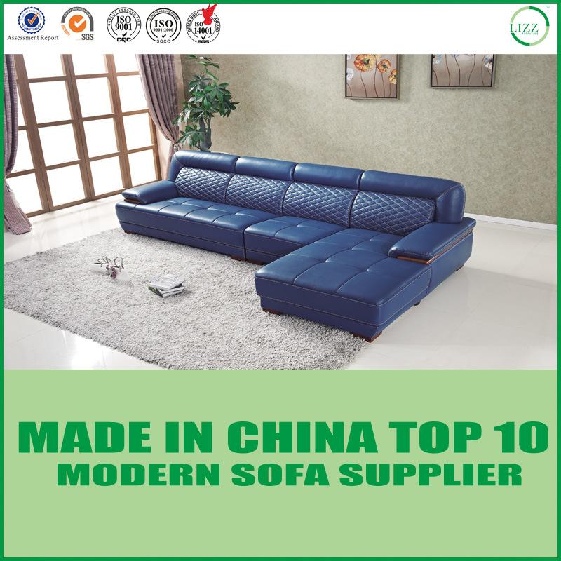 China Modern Furniture Navy Blue Leather Sofa Set China Leather