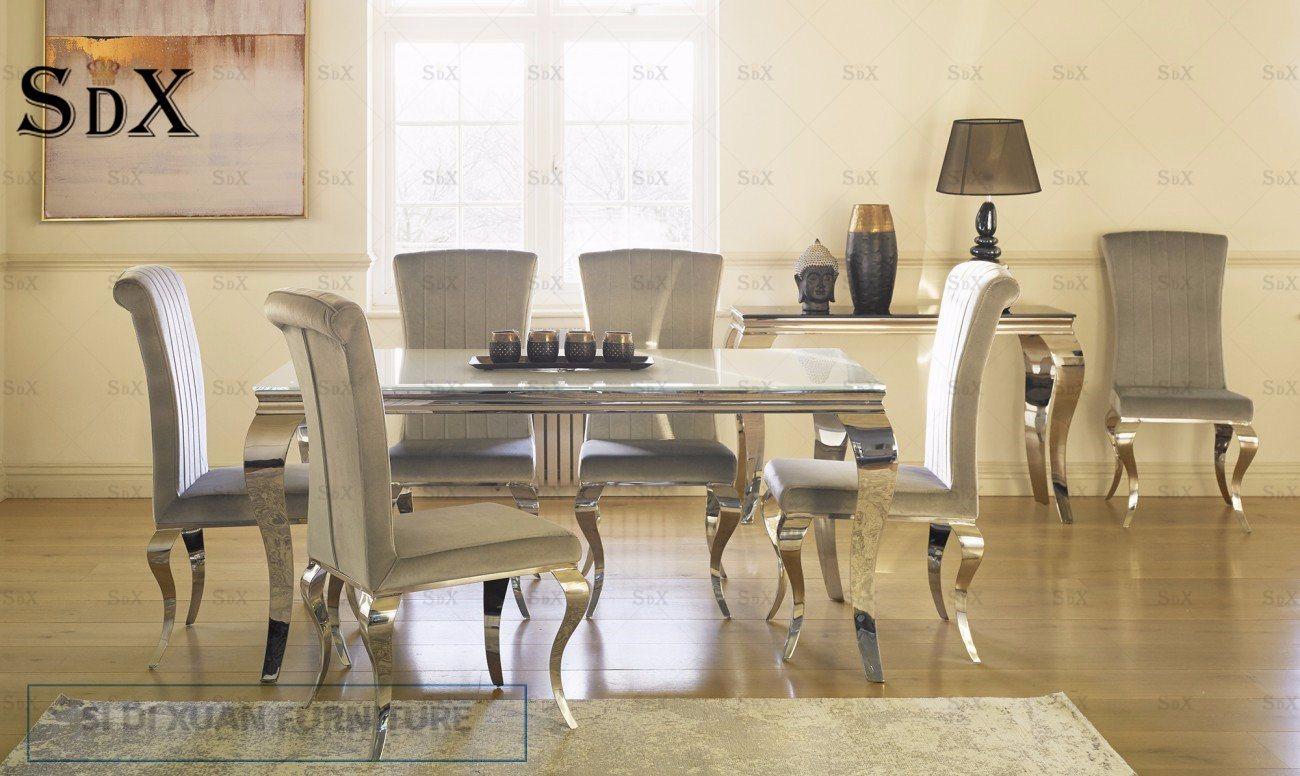 Groovy Hot Item Vida Living Louis White Dining Table And 6 Silver Nicole Chairs 180Cm Spiritservingveterans Wood Chair Design Ideas Spiritservingveteransorg