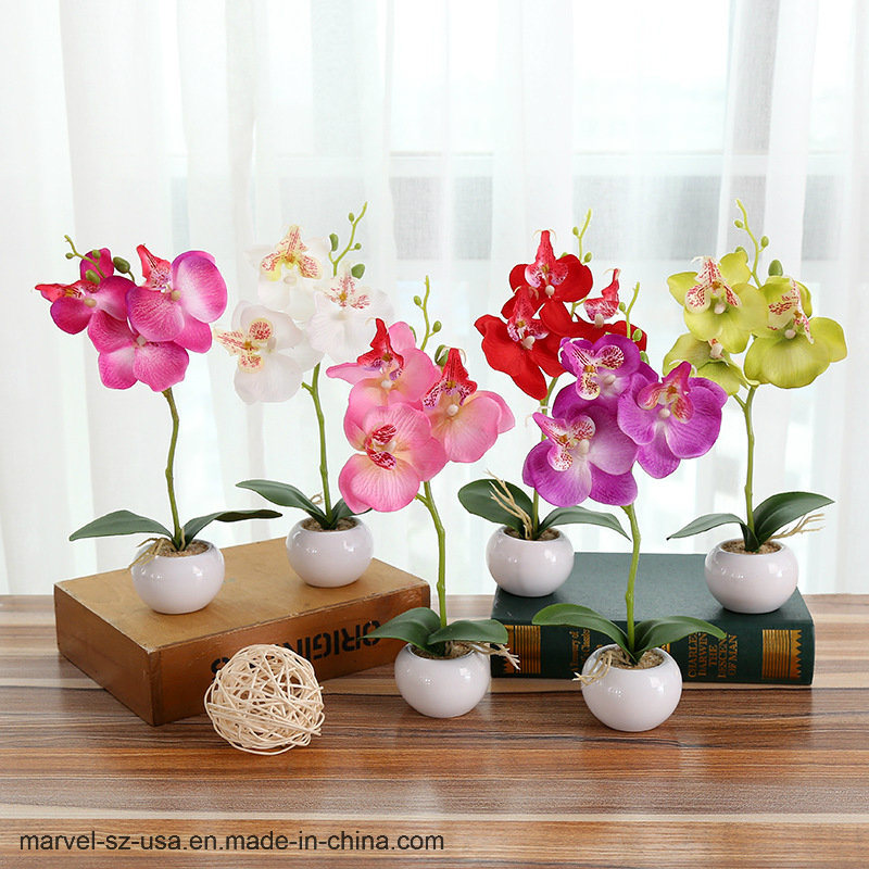 Hot Item Landscape Fake Flower Artificial Plants Erfly Orchid With Small Round Pot