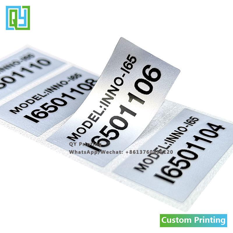 Hot Item Custom Printed Silver Pet Aluminium Foil Serial Number Label Sticker