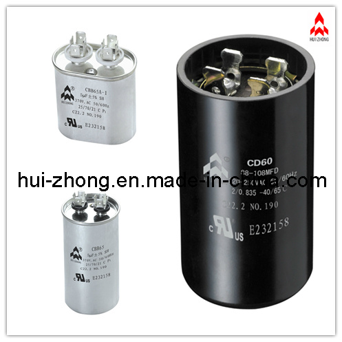 AC Motor Run and Start Capacitor Qualifed by VDE. UL. TUV. CQC. CE (CBB65 CD60)