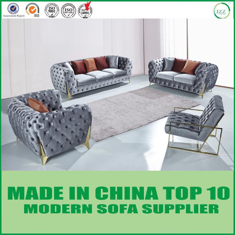 [Hot Item] Modern Italian Furniture Velvet Fabric Lounge Chesterfield Sofa