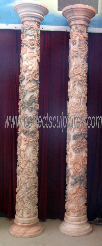 China Customized Garden Home Wedding Decoration Roman Stone Column Marble Carving Pillars With Carved Flower Grape Design Qcm107 China Porch Column Greece Column