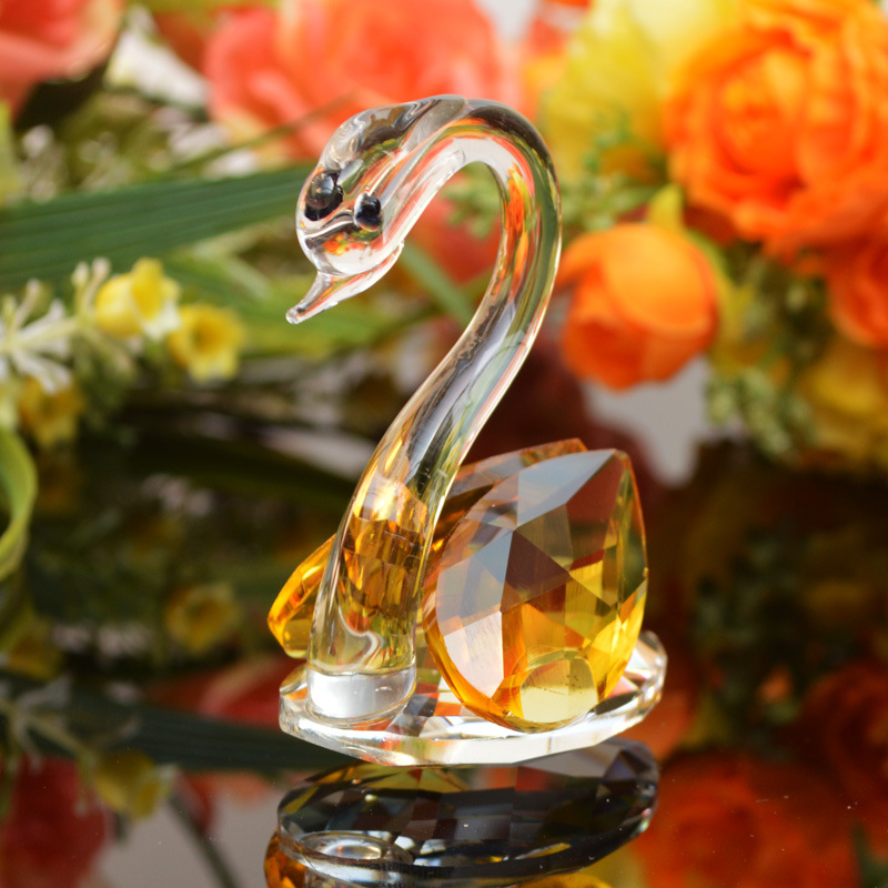 China Wholesale High Quality Crystal Crafts Pair Of Swan As Birthday