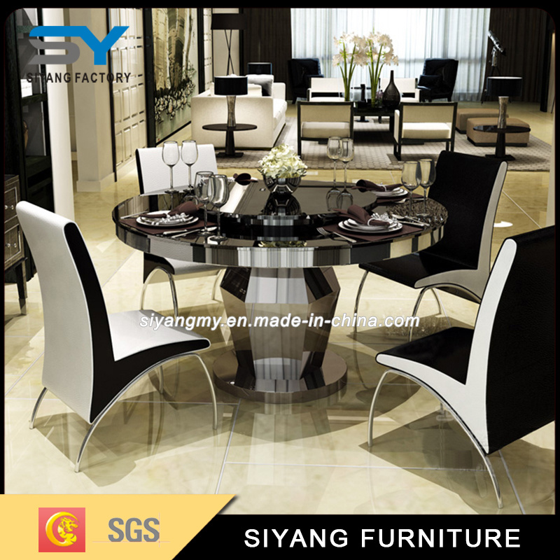 Black Gl Round Dining Table With Rotating Centre