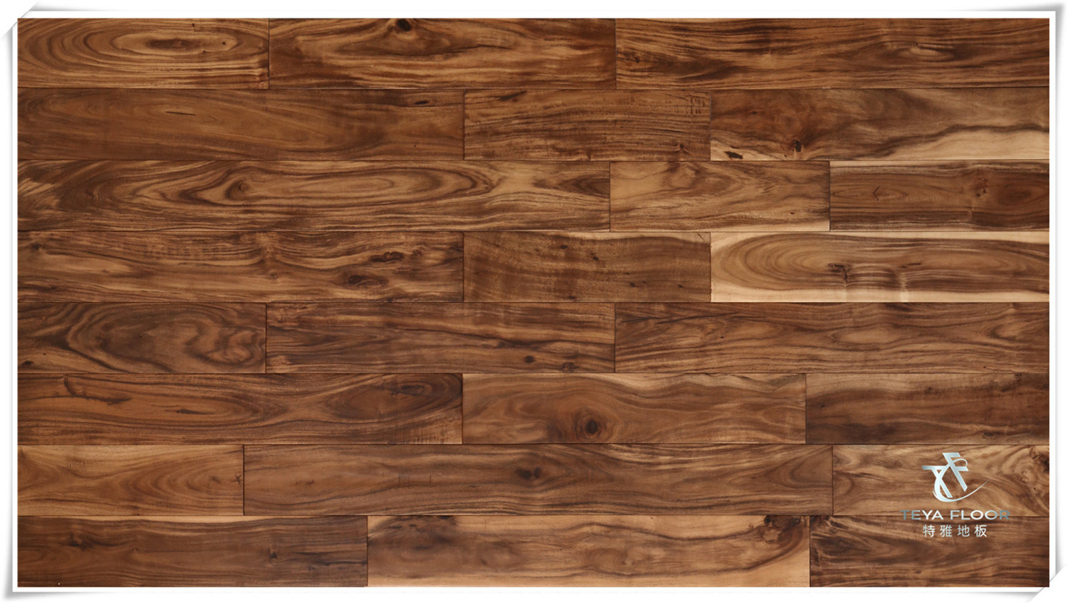 China Acacia Solid Flooring Stained Handscraped Wood Floor