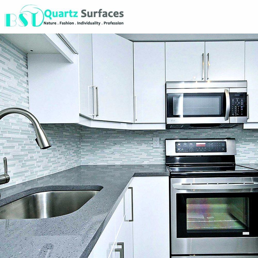 China Prefab Stellar Grey Kitchen Quartz Stone Countertops Photos ...