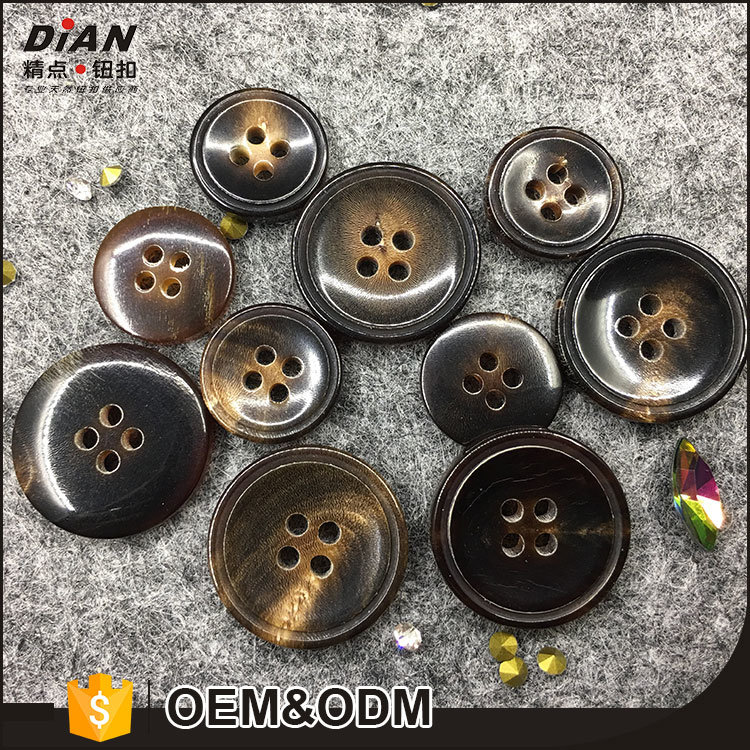 Brown Genuine Horn Buttons 4 holes Round For Suit Blazer or Sport Coat