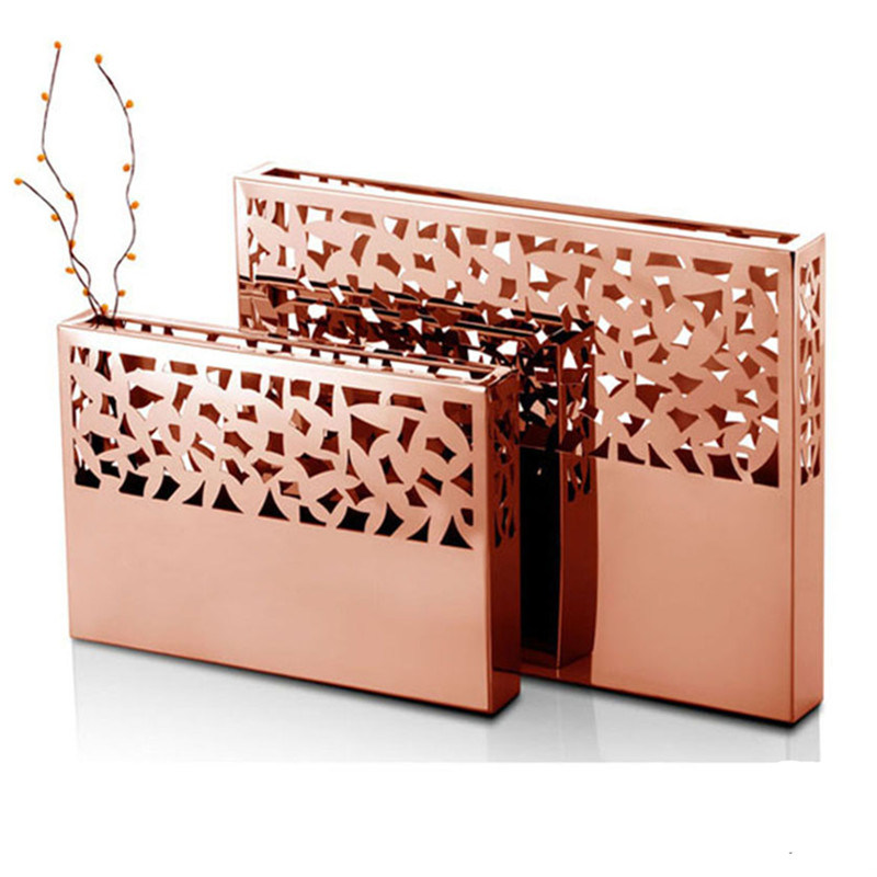 China Colorful Metal Rectangular Flower Vases With Table Decoration