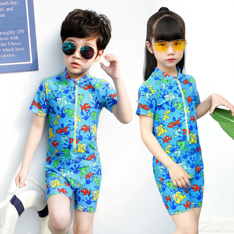 4c11b19043 Perfect Protection Diving Upf40+ Protection Front Zip Lycra Fastening Kids  One Piece Surfing Suit