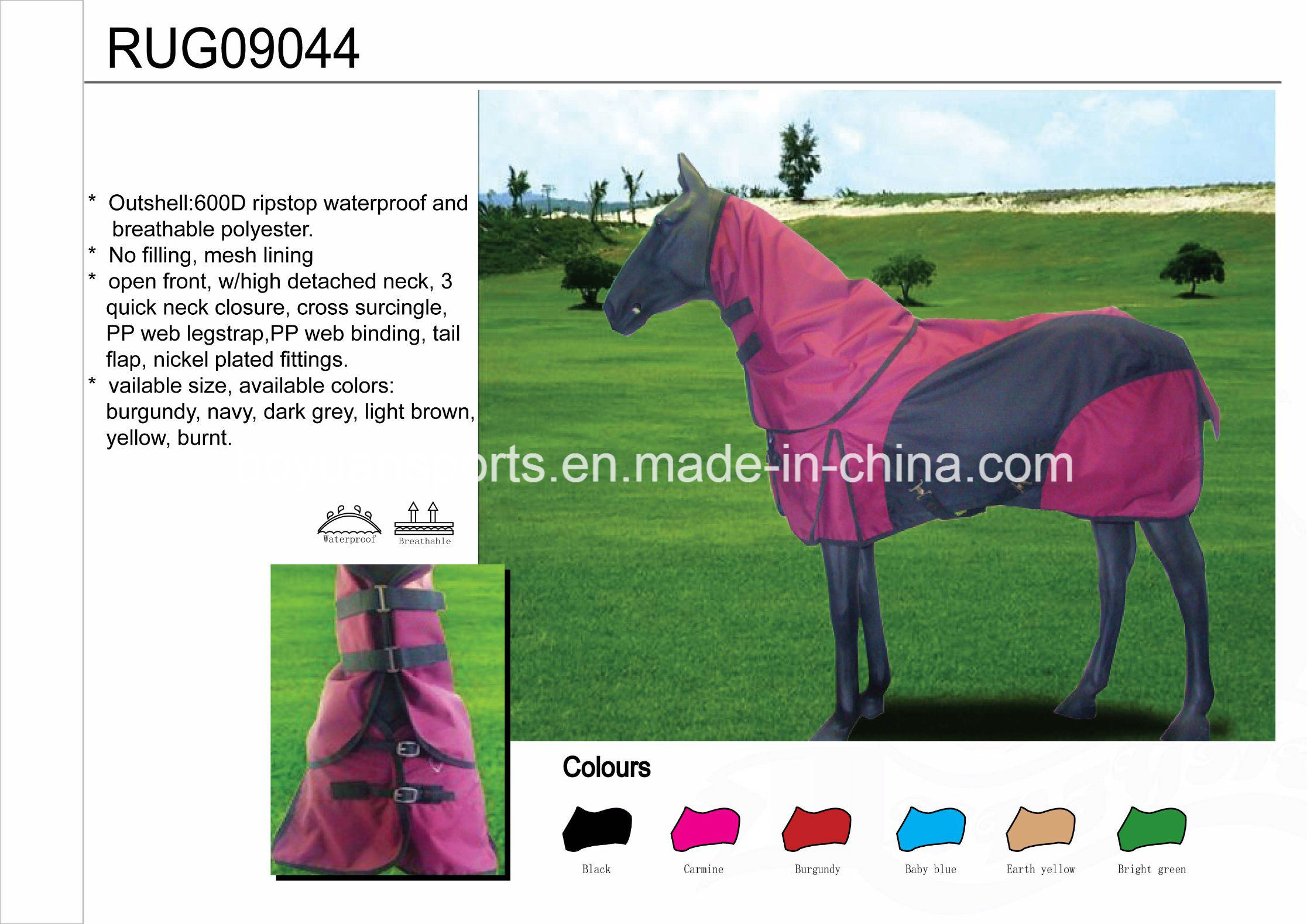 Hot Item Ripstop Waterproof And Breathable Horse Rugs For Whole
