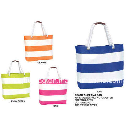 Promotional Stripe Printing Tote Beach Bag for Ladies