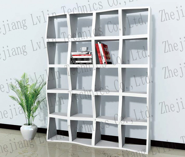 China Wooden Bookshelf With Wave Shape And Deluxe Painting