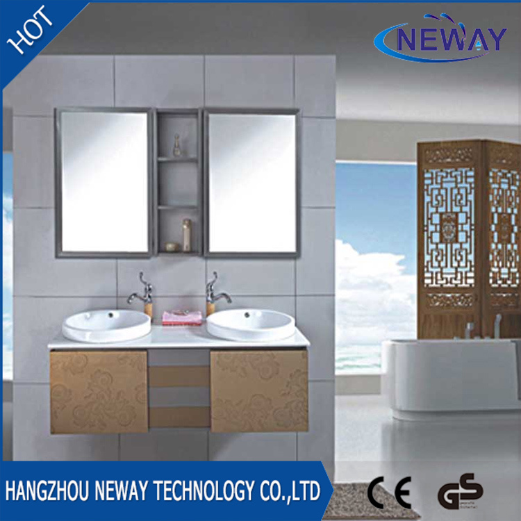 China Double Basin Wall Stainless Steel Pace Bathroom Cabinets Vanity Cabinet