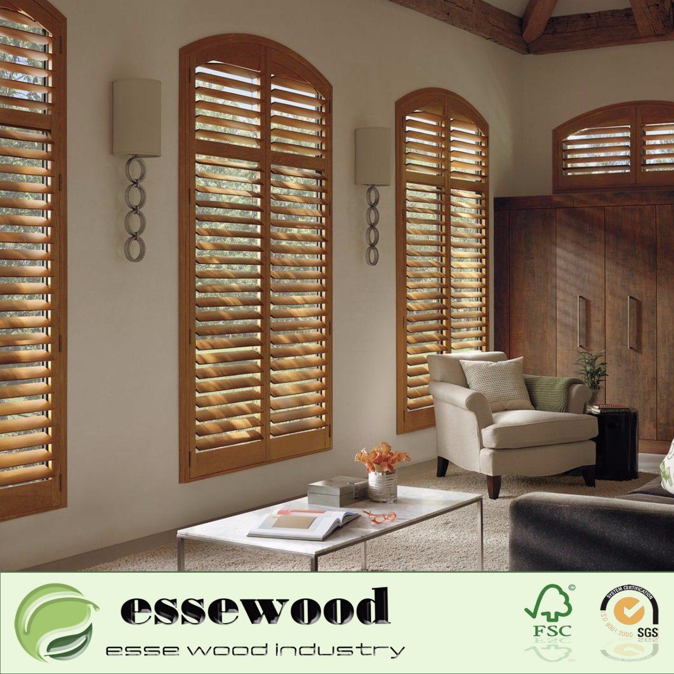 China Basswood Wooden Decorative Window Shutter Plantation