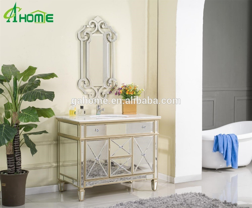 China Golden Paint Luxury Design Living Room Bedroom A Set Of Mirror And Mirrored Cabinet China Mirror Set