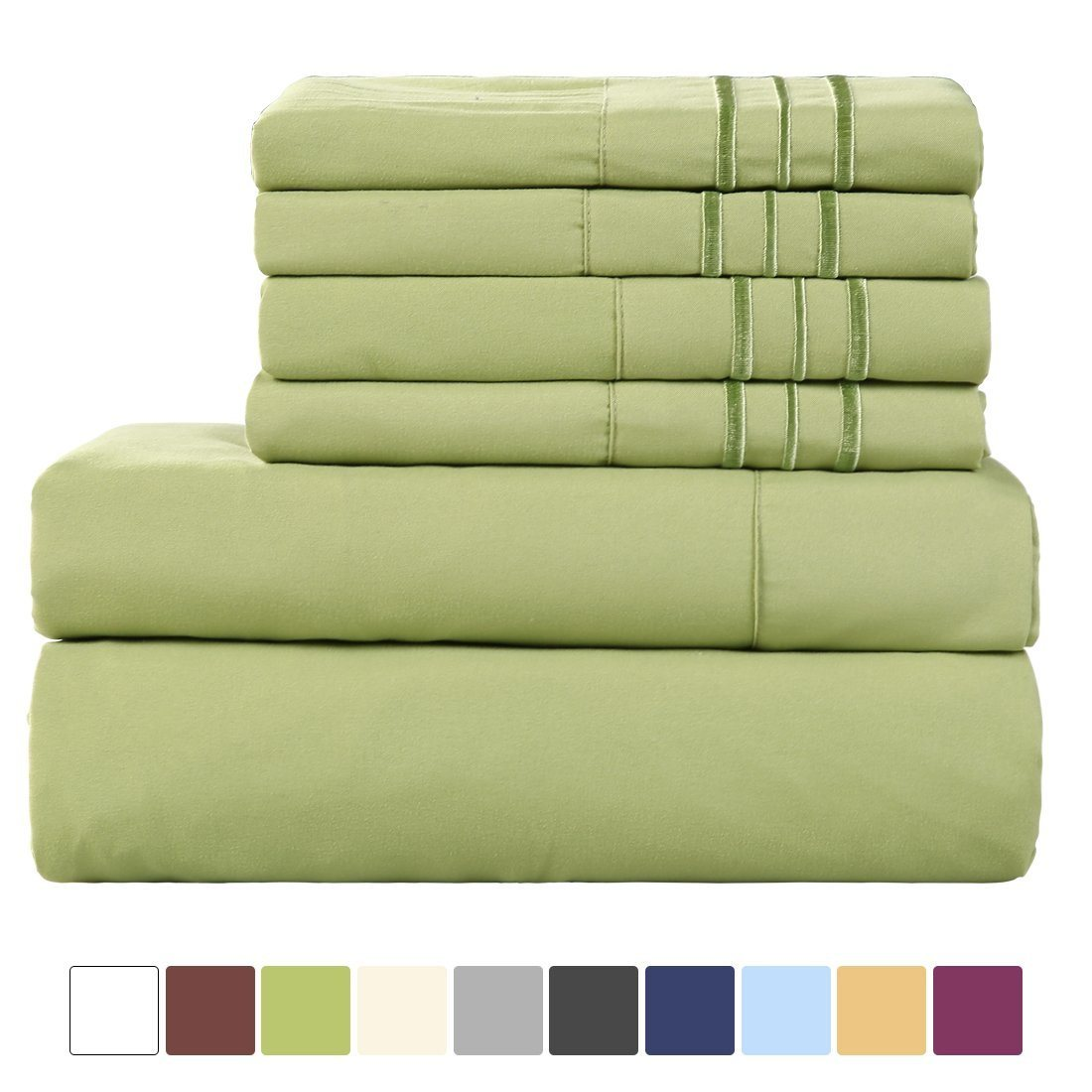 China Hotel Collection 6 Pieces 1800 Thread Count Microfiber Bed