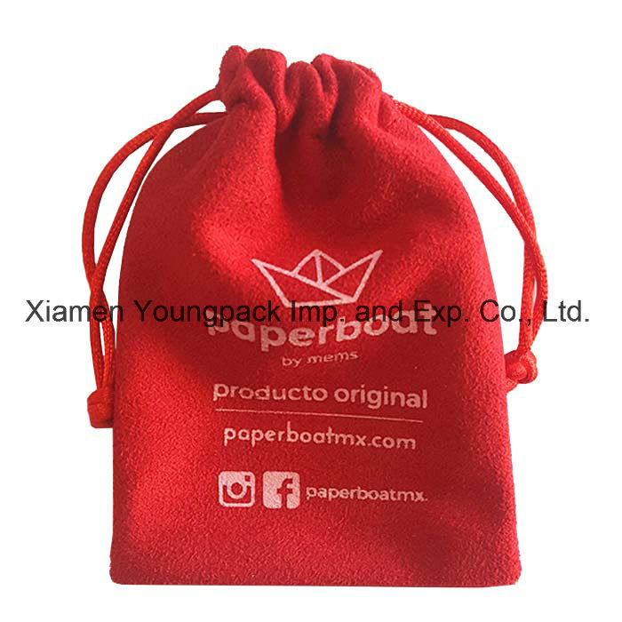 Fashion Promotional Custom Black Small Drawstring Velvet Pouch pictures & photos