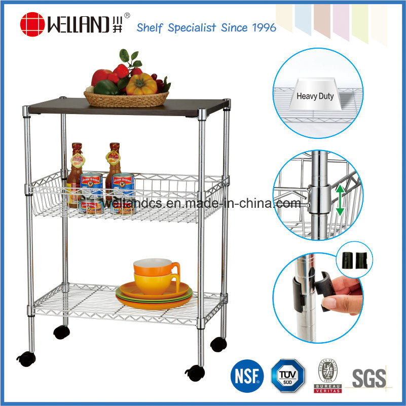 [Hot Item] 3 Tiers Chrome Metal Wire Kitchen Cart with MDF Board